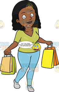 A Black Woman Satisfied After Shopping In A Mall