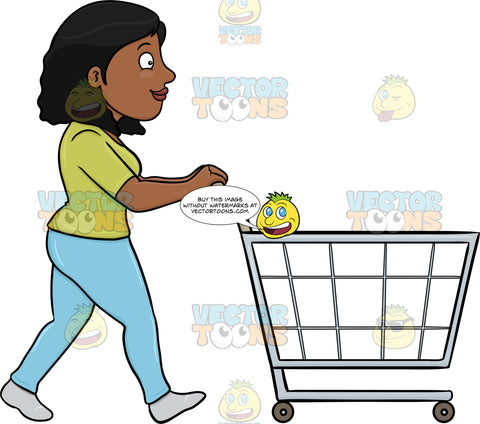 A Black Woman Pushing A Shopping Cart Inside The Supermarket