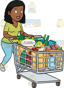 A Black Woman Smiles After Checking Out Of A Supermarket With Her Grocery Items