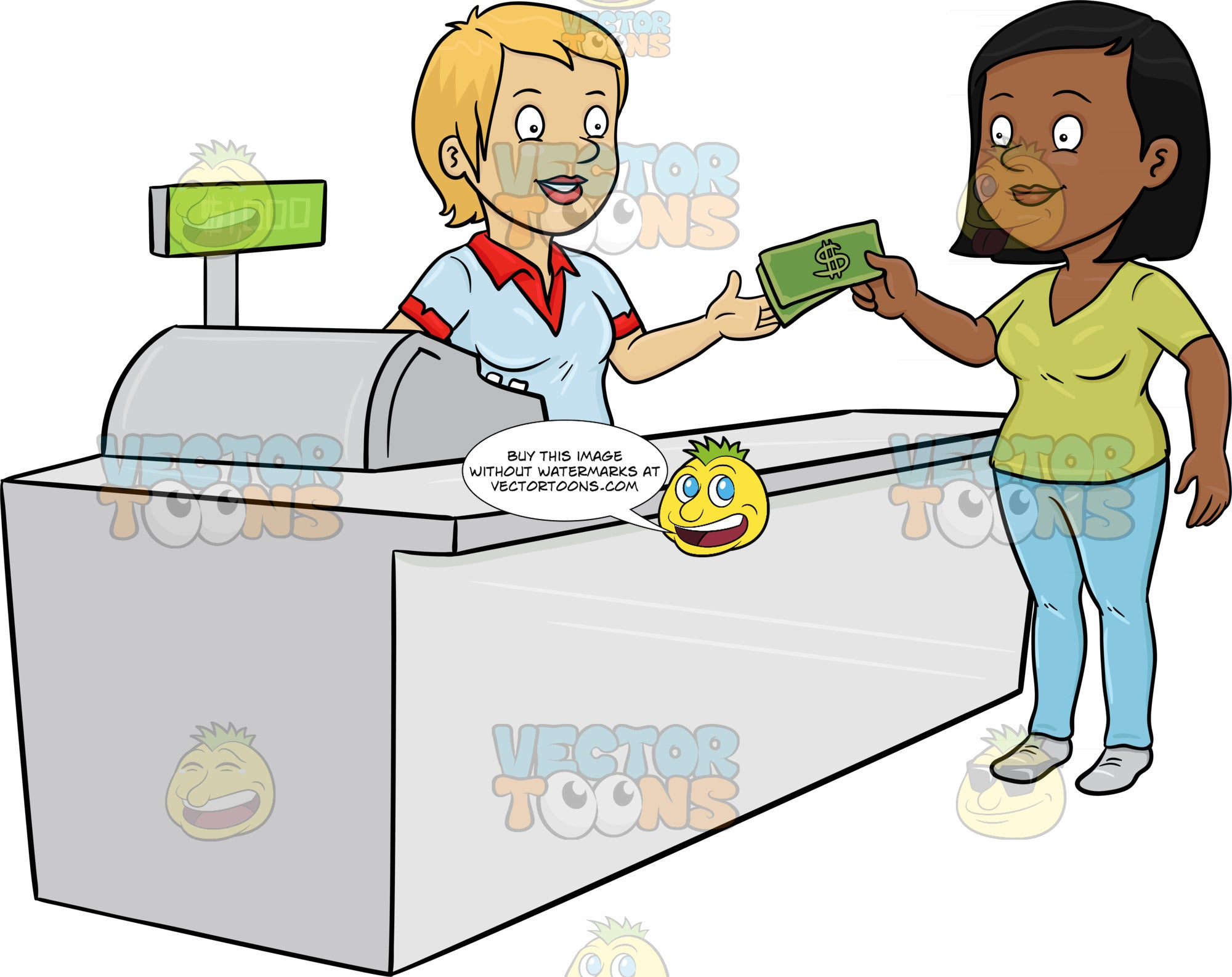 A Black Woman Paying The Cashier One Thousand Dollars