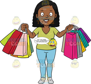A Black Woman Smiles In Pleasure After A Shopping Spree