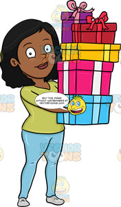 A Black Woman Carrying The Gifts She Has Bought