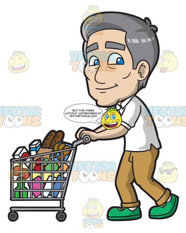 A Mature Man Pushing A Grocery Cart Full Of Items