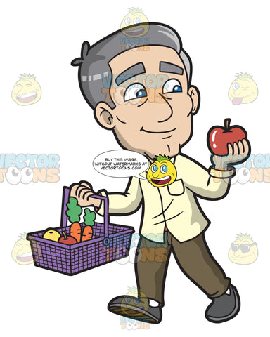 A Mature Man Shops For Fruits And Vegetables