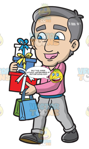 A Mature Man Carrying Boxes And Bags Of Presents