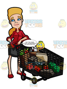 Career Woman Proudly Poses With A Cart Full Of Items And Goods After Grocery Shopping