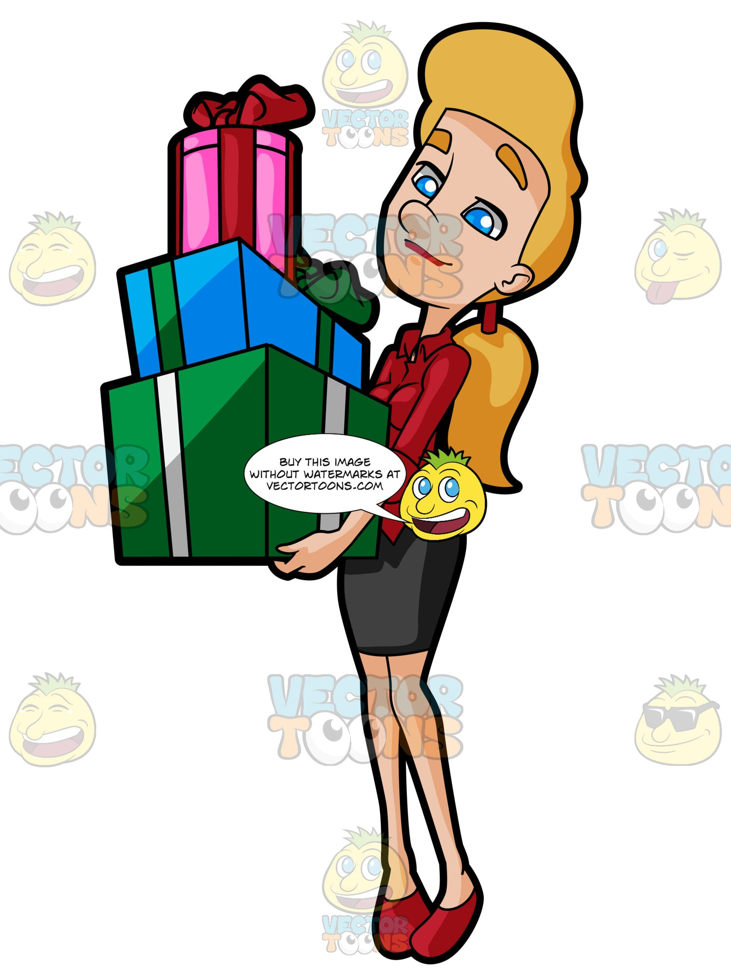 Career Woman Carrying Boxes Of Gifts Clipart Cartoons By Vectortoons