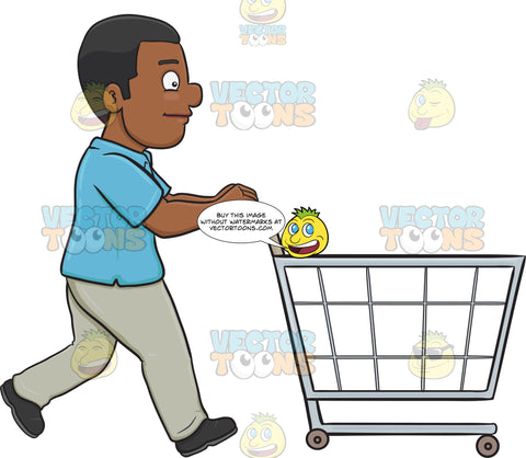 A Black Man Pushing A Shopping Cart Inside The Supermarket