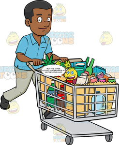 A Black Man Smiles After Checking Out Of A Supermarket With His Grocery Items