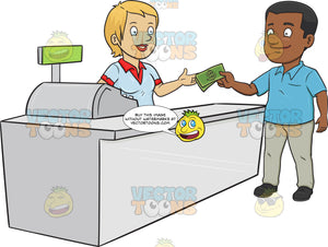 A Black Man Paying The Cashier One Thousand Dollars