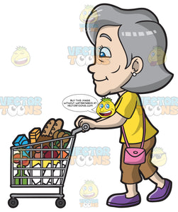 A Mature Woman Pushing A Grocery Cart