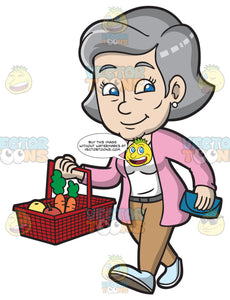 A Mature Woman Carrying A Grocery Basket