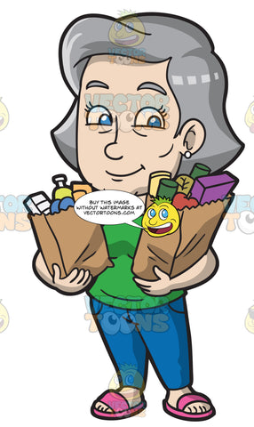 A Mature Woman Carrying Her Groceries