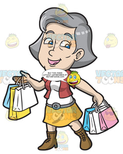 A Mature Woman Enjoying A Shopping Day