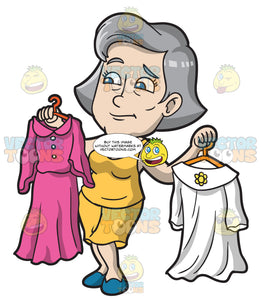 A Mature Woman Confused On Which Dress To Wear