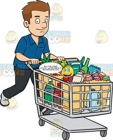 A Man Smiles After Checking Out Of A Supermarket With His Grocery Items