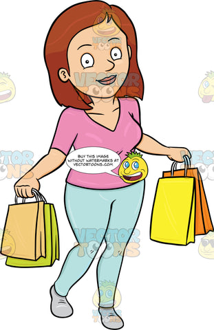 A Woman Satisfied After Shopping In A Mall