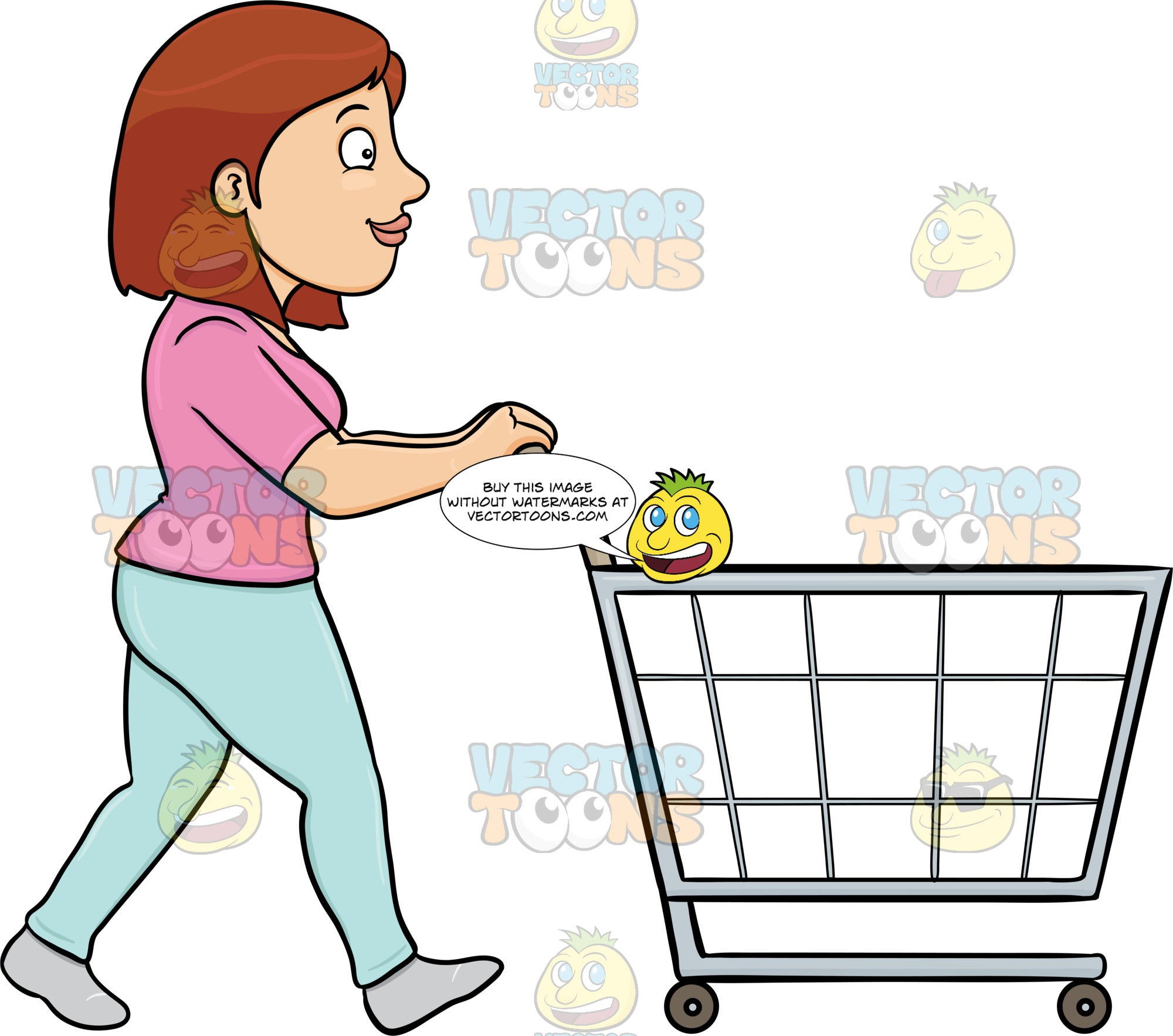 A Woman Pushing A Shopping Cart Inside The Supermarket