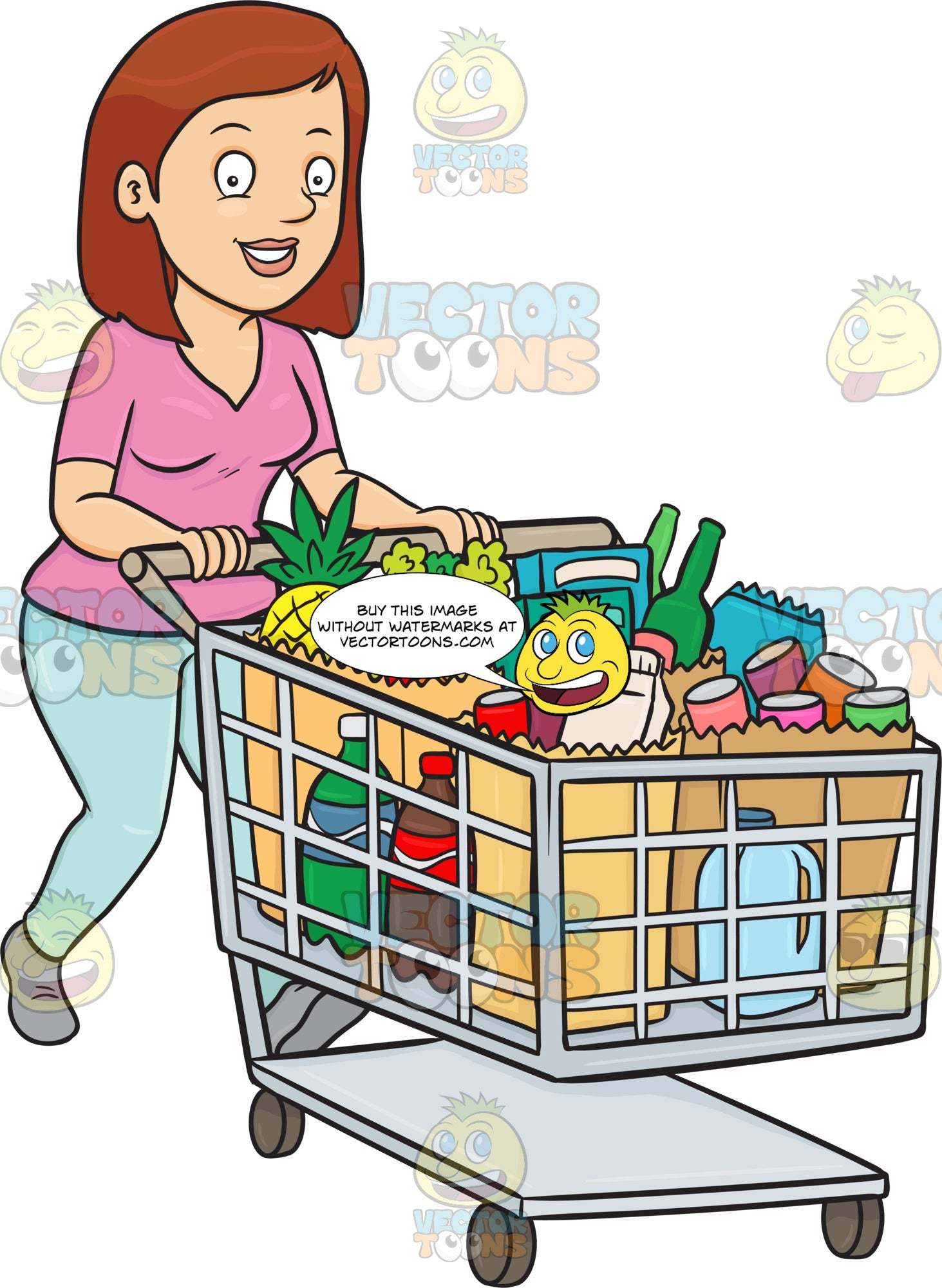 A Woman Smiles After Checking Out At The Supermarket With Her Grocery Items