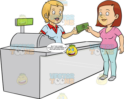 A Woman Paying The Cashier One Thousand Dollars