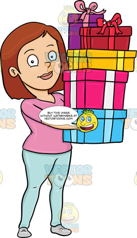 A Woman Carrying The Gifts She Has Bought