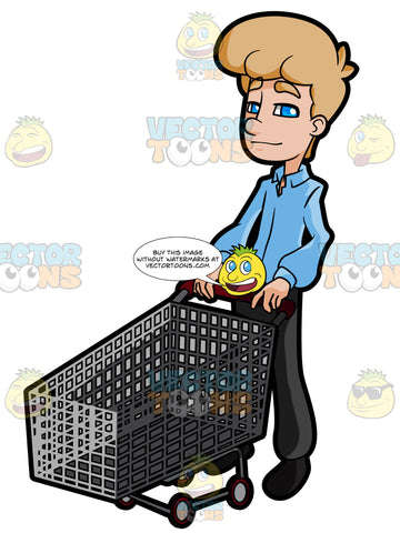 Career Man Holding On To An Empty Grocery Cart
