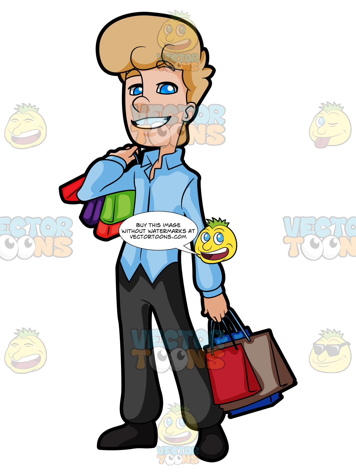 Career Man Happily Carries A Bunch Of Colored Shopping Bags