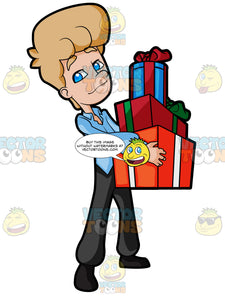 Career Man Carrying Boxes Of Gifts