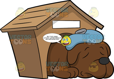 A Sleeping Dog With Fever. A dog with brown coat and black nose, sleeping inside a wooden dog house, with a a pale blue ice bag on its forehead