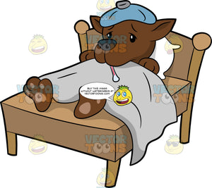 A Sick Dog In Bed. A dog with brown coat, black nose, shivers while lying in bed with a white pillow, body covered in a gray blanket, as a pale blue ice pack is on top of its head and a thermometer is placed in its mouth