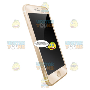 Side-Front Tilted Vector Image Of Sleek Champagne Colored Mobile Phone