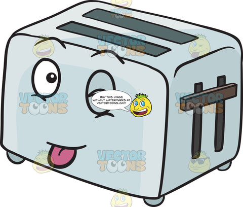 Silly Looking Pop Up Toaster Sticking Out A Tongue Emoji