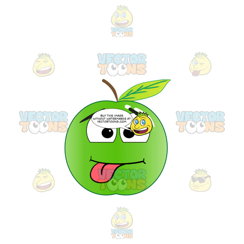 Silly Playful Green Apple With Tongue Sticking Out Emoji