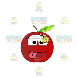 Silly Playful Red Apple With Tongue Sticking Out Emoji