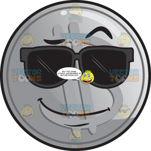 Silver Coin Wearing Sunglasses Emoji