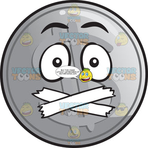 Silver Coin With Taped Mouth Emoji