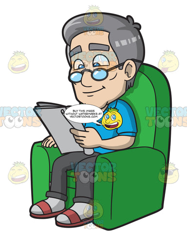 A Mature Man Sits On A Sofa Lounger While Reading A Newspaper