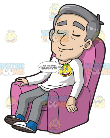 A Mature Man Resting On A Sofa Lounger