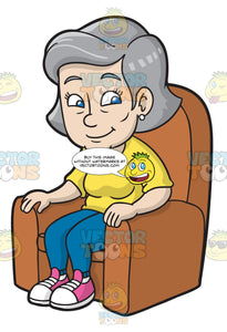 A Mature Woman Sitting On A Soft Single Sofa