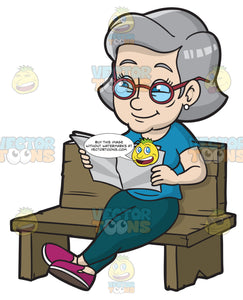 A Mature Woman Sits Down While Reading The Paper