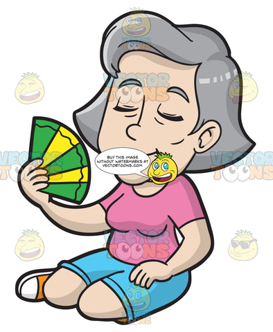 A Mature Woman Cools Down With A Fan