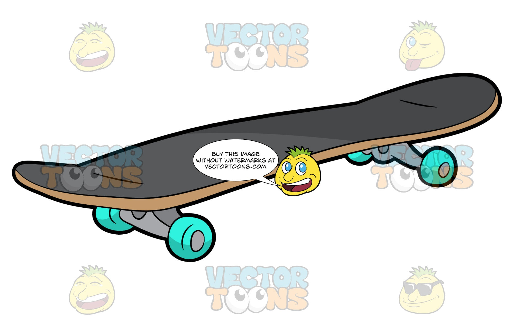 A Classic Skateboard. A skateboard with a wooden deck, dark gray grip tape, steel gray trucks, and bright teal wheels