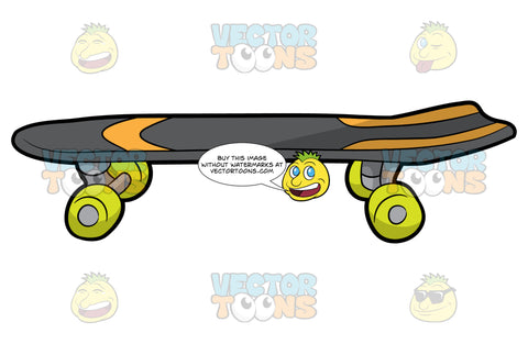 A Cool Skateboard. A skateboard with a dark gray deck, dark gray and orange grip tape, steel gray trucks, and neon green wheels