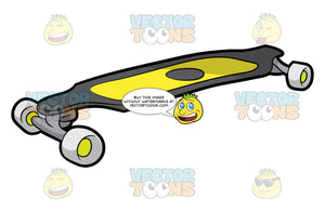 A Longboard. A skateboard with dark gray deck, yellow grip tape, steel gray trucks and white wheels with apple green bearings
