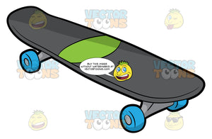 A Gray Skateboard With Blue Wheels. A skateboard with dark gray deck, neon green sticker accent in the middle, steel gray trucks and four blue wheels