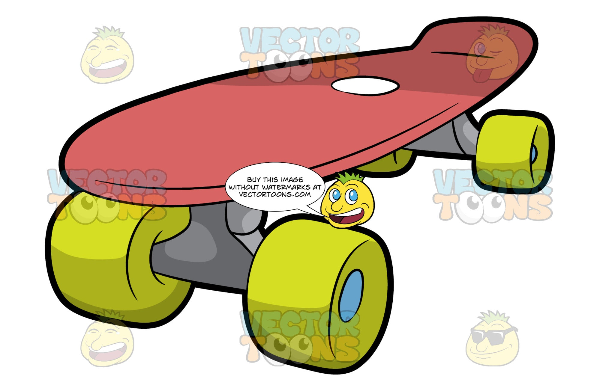 A Red Skateboard. A skateboard with red deck and a small round white print accent on top, steel gray trucks and neon green wheels with blue bearings