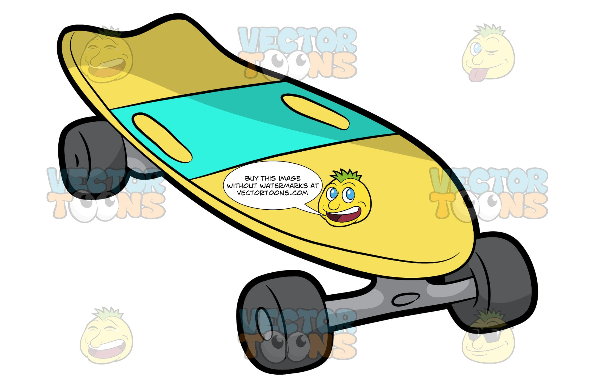 An Old School Skateboard. A skateboard with yellow deck, aqua green grip tape, steel gray trucks with dark gray wheels