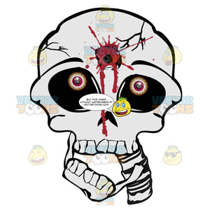 Cartoon Skull With Gunshot To Forehead Bullet Hole Straight On Look With Falling Mouth
