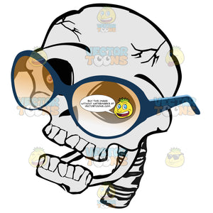 Cartoon Skull Looking Left Wearing Yellow Shaded Glasses With Attached Vertebrae