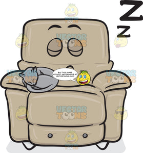 Sleeping Cat On A Snoring Stuffed Chair Emoji